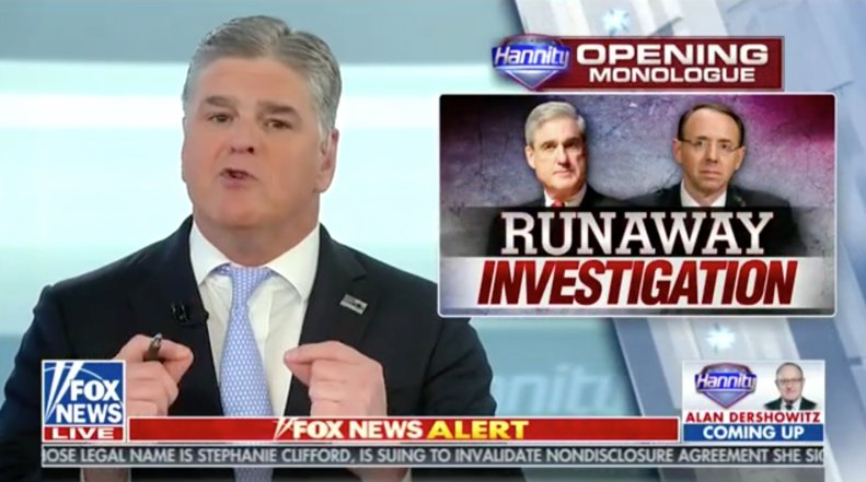 Sean Hannity: 'Mueller and Rosensteinhave declared what is alegal war on the president' https://t.co/uEiyyTVidT https://t.co/gw6XSVSwP5