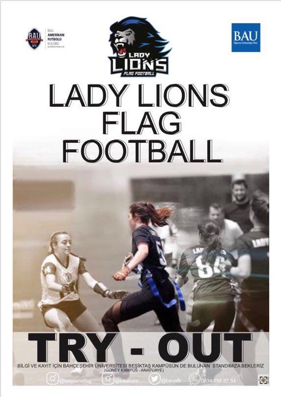 Lady Lions Flag Football takımımıza ve ailemize katılmak isteyen herkesi Güney Kampüs ana fuayeye bekliyoruz.