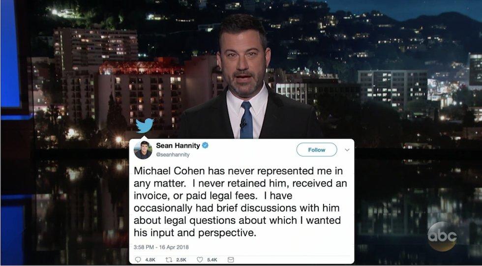 WATCH: Kimmel mocks Hannity over Cohen revelation https://t.co/Kq7ziWVXgv https://t.co/xcuRglrs6s