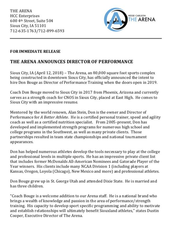 The Arena On Twitter For Immediate Release April 19 2018 Sioux
