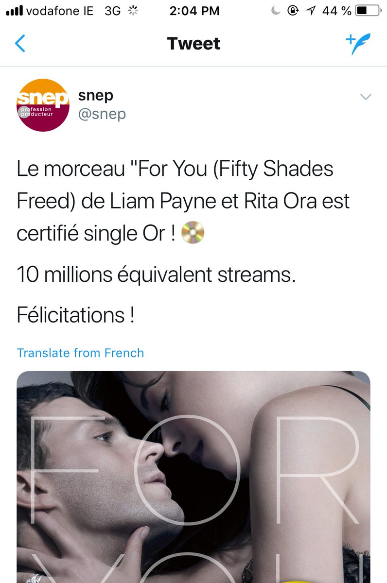 #ForYou is now certified Gold in France. Congratulations to @LiamPayne and @RitaOra, well done guys. (via @snep)<br>http://pic.twitter.com/L8ClASFafU