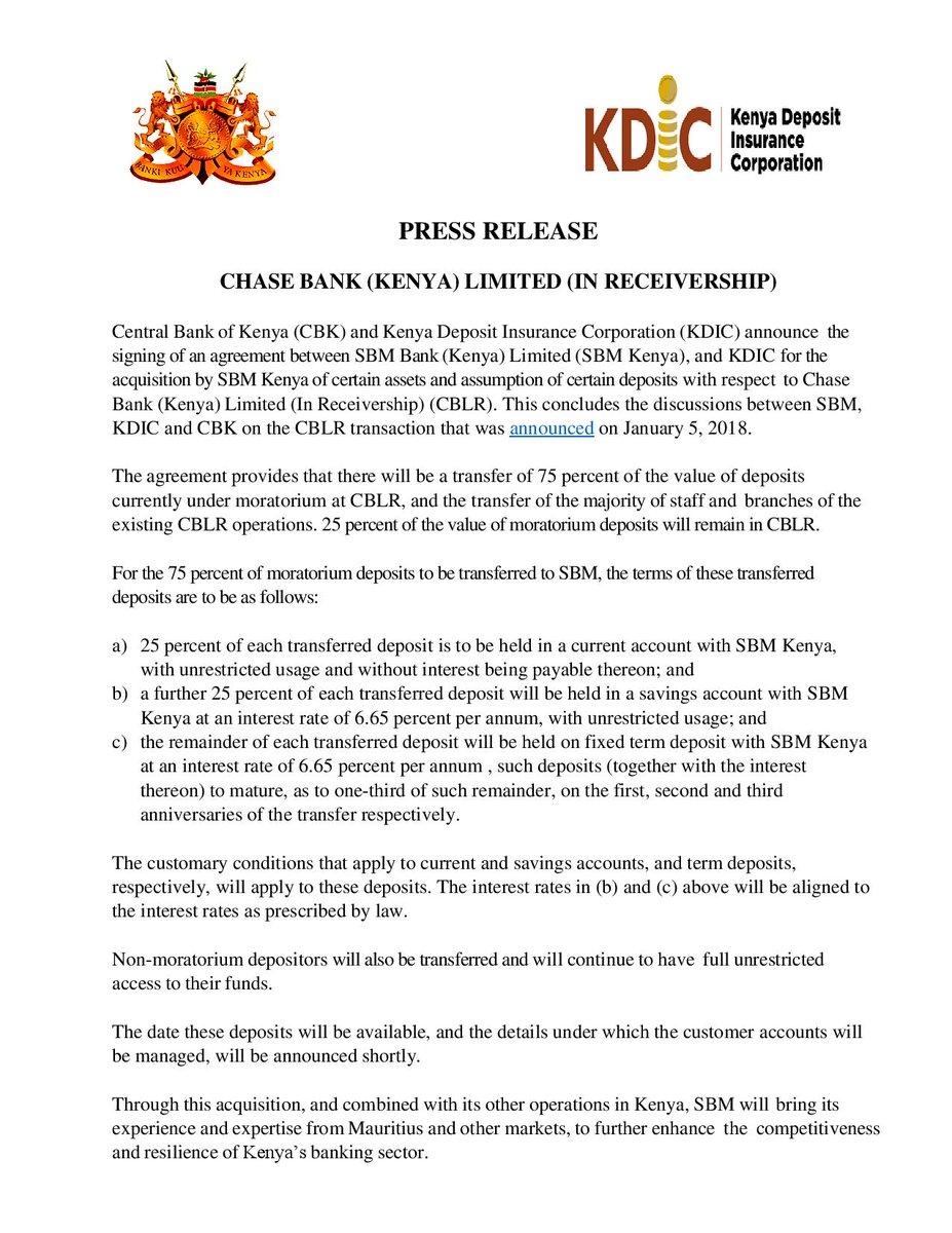 Central Bank Of Kenya On Twitter Press Release Chase Bank Kenya