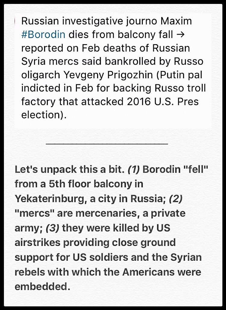 Not from a Le Carre novel. #Borodin died last week...  #Syria #Putin #Yekaterinburg #TrumpRussia #Mueller #Prigozhin #Indictments<br>http://pic.twitter.com/BS1GQEEB82