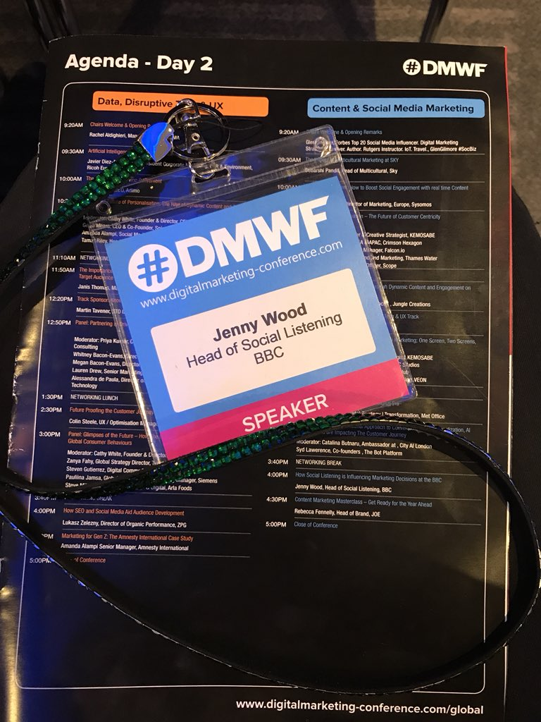 Day two of #DMWF. If you're attending today, make sure you stick around for my talk at 4pm on #sociallistening at the BBC. #socialmediamarketing<br>http://pic.twitter.com/BoawaIuPtX