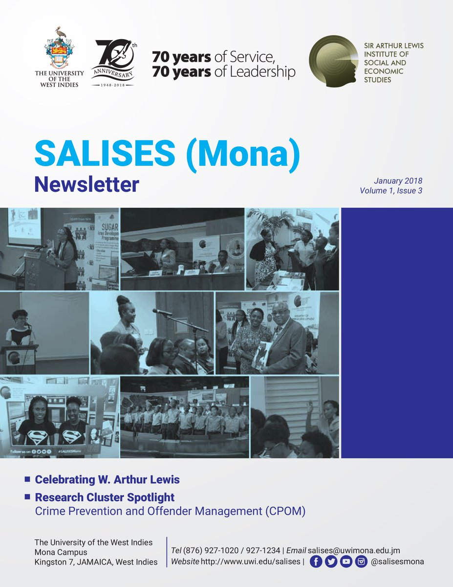 Please see the latest issue of the @SALISESMona Newsletter highlighting completed and ongoing work:  http://www. uwi.edu/salises/pdf/SA LISES-NewsletterJanuary2018Vol1Issue3.pdf &nbsp; …    #UWI #SALISESMona #Newsletter  #Development #Governance #PublicPolicy #SocialPolicy #EconomicPolicy #Devex #Jamaica #ArthurLewis #Research<br>http://pic.twitter.com/7T674Yk1kX