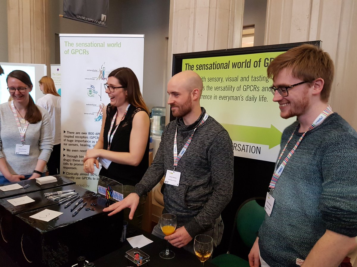 We&#39;re here at the #AstburyConversation2018  enthusing the public about sensational #GPCRs ahead of Nobel Laureate Brian Kobilka&#39;s plenary lecture. Come visit our stall! #publicengagement #outreach #phdlife<br>http://pic.twitter.com/twudfkcC3I