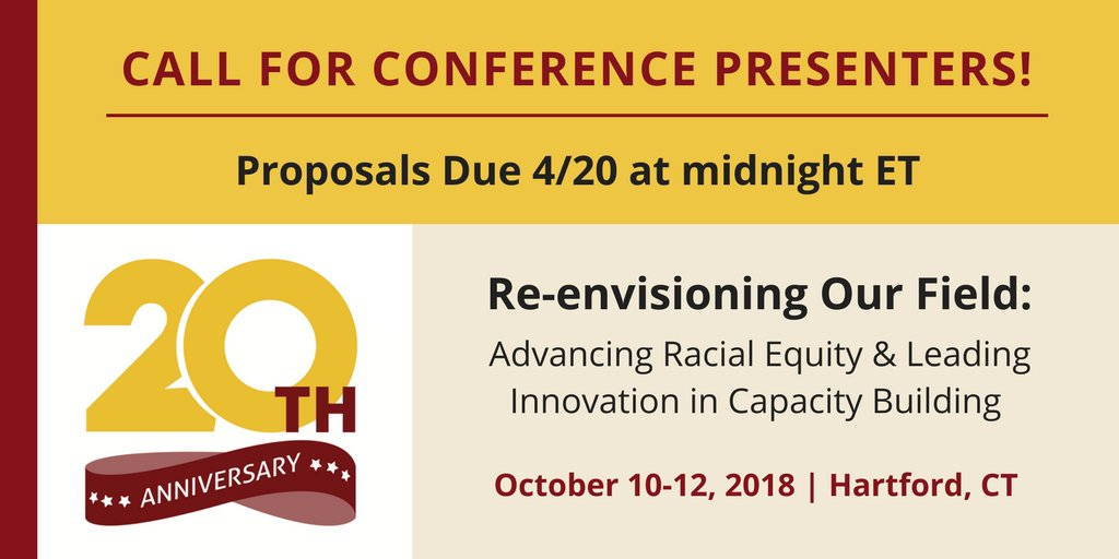 Want to present at our Annual Conference in #Hartford, CT this October? Proposals are due on FRIDAY! Submit your most innovative and interactive session ideas pertaining to our conference theme here:  https://www. surveymonkey.com/r/PresenterRFP  &nbsp;   #RacialEquity<br>http://pic.twitter.com/XYkmofdGD5
