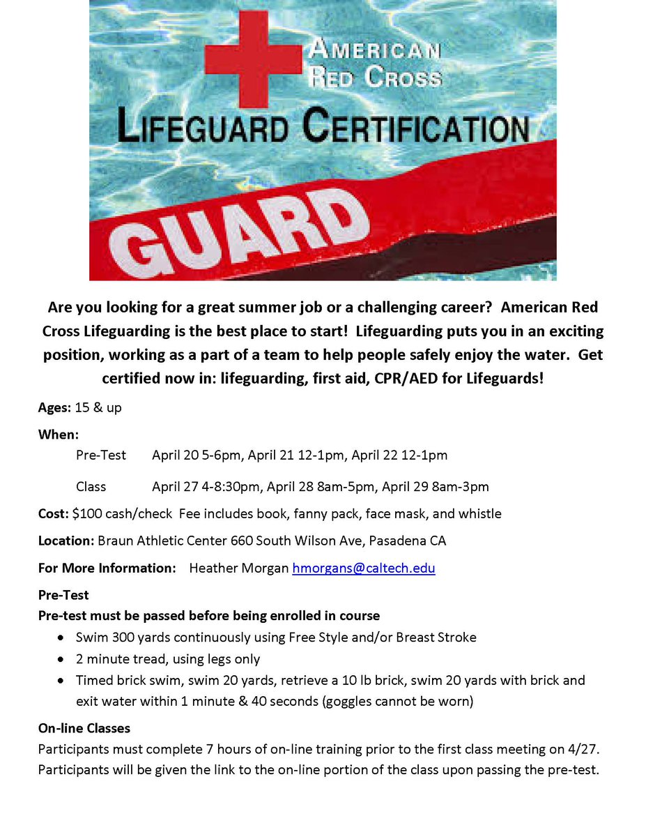 Caltech Rec On Twitter Lifeguard Certification Class Pre Test This