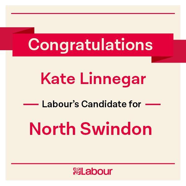 Congratulations Kate Linnegar (@kate_linnegar), Labour's candidate for North Swindon! https://t.co/CvRRaitp5C