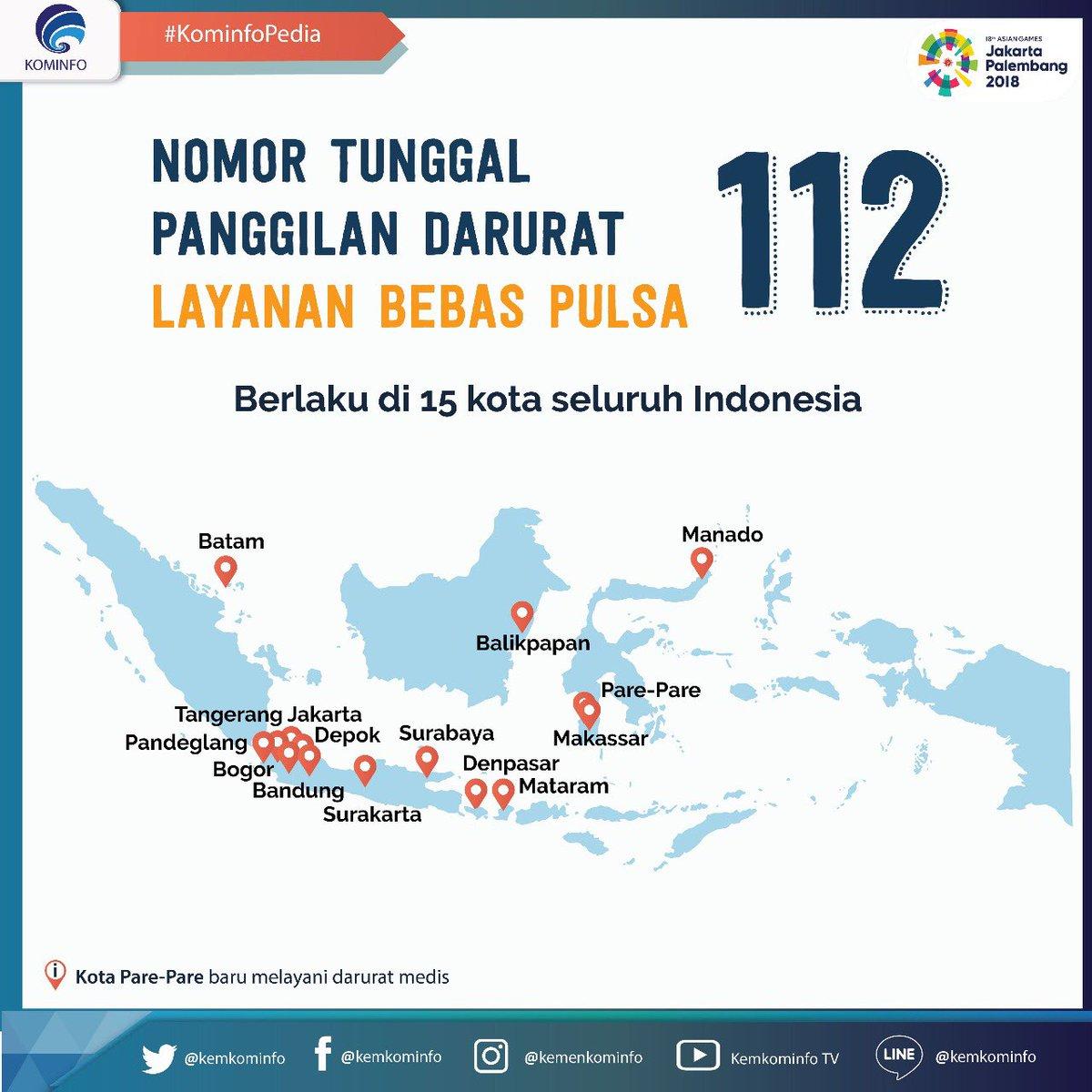 Kementerian Kominfo u05d1u05d8u05d5u05d5u05d9u05d8u05e8 Kota Mana Saja Yg Sudah Bisa Mengakses Nomor Tunggal Panggilan Darurat 112 Ntpd112 Sekarang Sudah Dapat Diakses Di 15 Kota Seluruh Indonesia Loh Layanan Ini Gratis Tapi