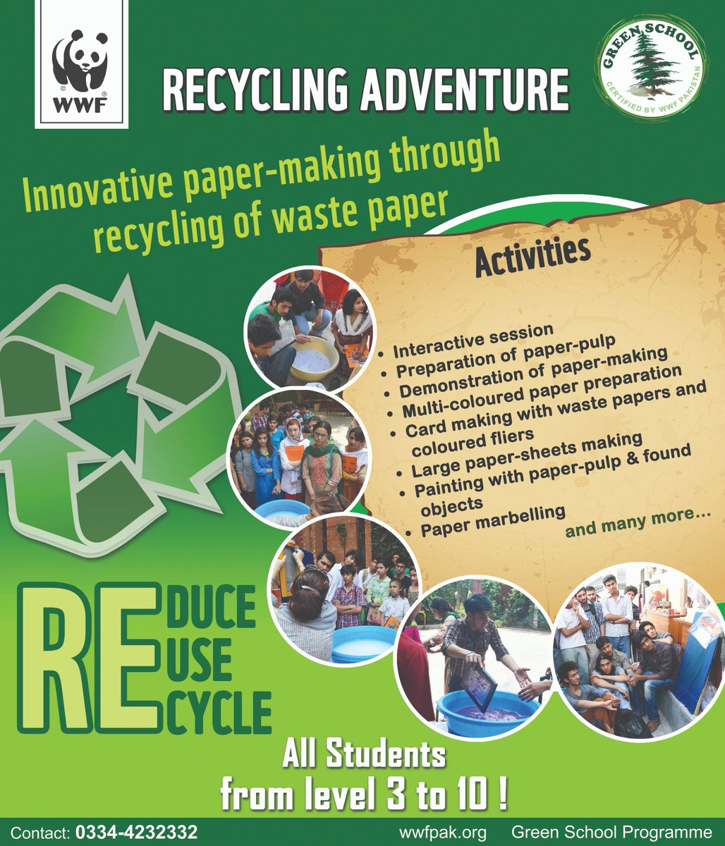 Wwf pakistan on twitter wwfpak invites students from grade 3 to wwfpak invites students from grade 3 to 10 to register for paper making workshop and learn about reducing paper waste through reduce reuse stopboris Choice Image