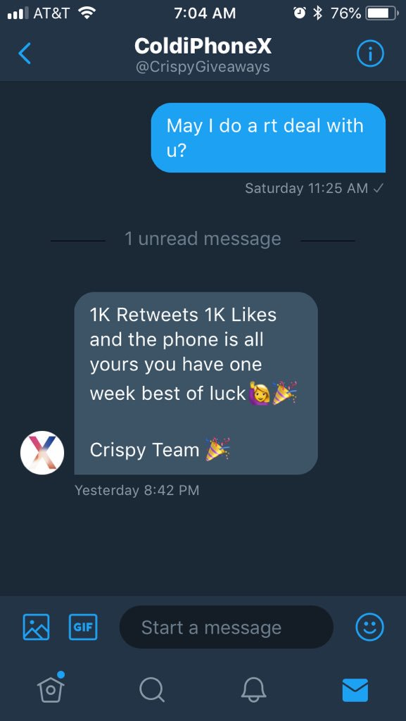 Since my other RT deal was a scam I'm going to try to get an iPhone X for @CrispyGiveaways. I need 1K RTs and likes. I'll do #likexlike and #RtxRt! Plz help me! #retweet #like #RT #giveaway #help #likesforlikes #RTDEAL #helpasistaout #RETWEEET <br>http://pic.twitter.com/6iEy3pP257