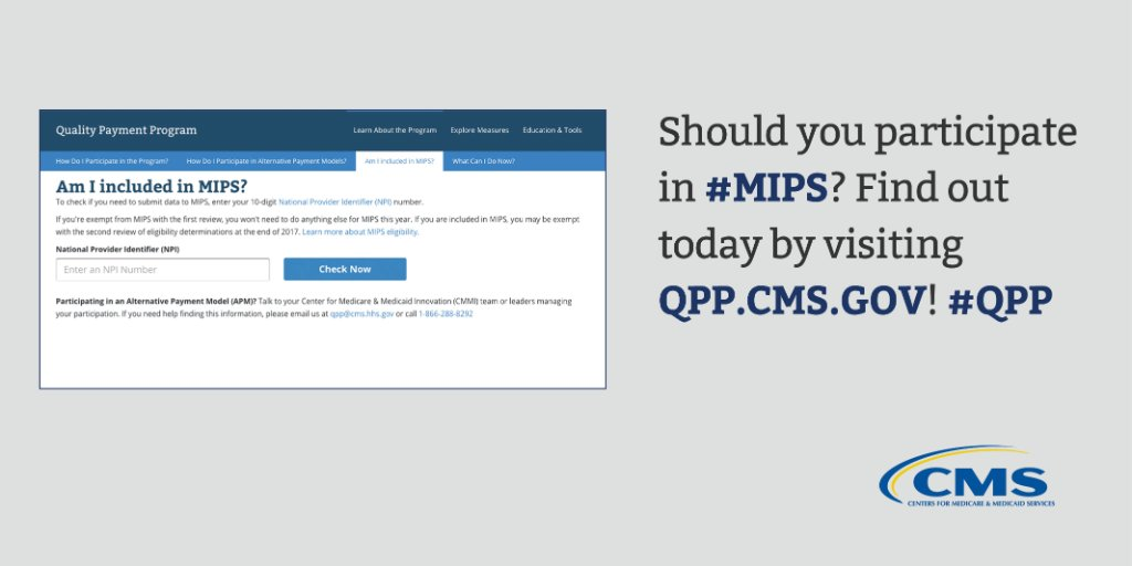 CMS just updated the 2018 #MIPS Lookup tool! Clinicians: use this tool to determine if you are required to participate in MIPS for the 2018 performance year: https://t.co/wRpuEnaLBn  #MACRA #QPP