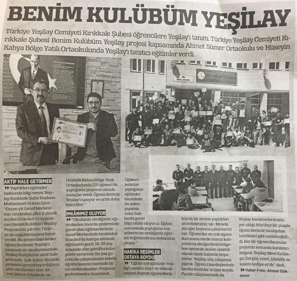 Yeşilay Kırıkkale On Twitter Benim Kulübüm Yeşilay Projesinin