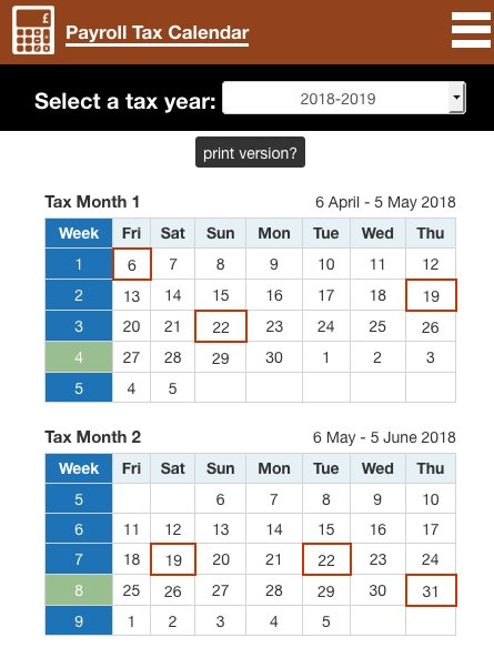 tax calendar for any tax year showing tax weeks and tax months at httpswwwuktaxcalculatorscoukpayroll tax calendar2018 2019