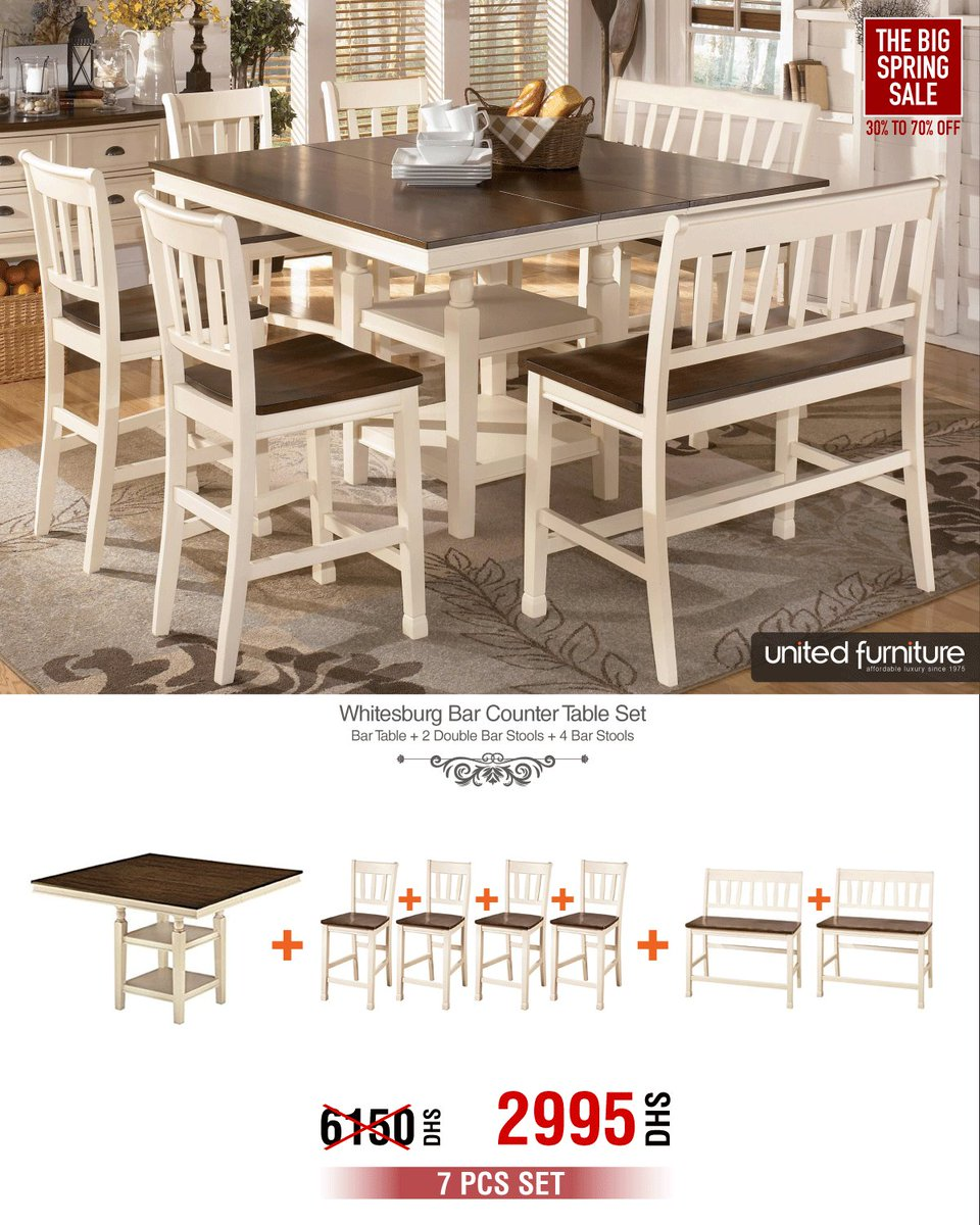 United Furniture On Twitter Whitesburg 7pcs Bar Counter Table Set