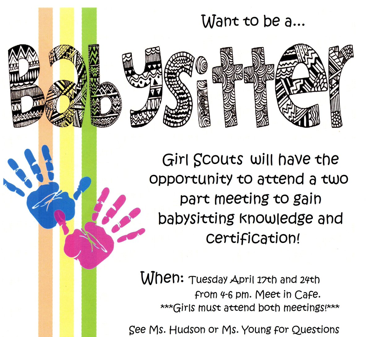 if so all registered girl scouts should attend this two part babysitter certification on april 17th 24th believeinagirlpictwittercomg90jv1auwx