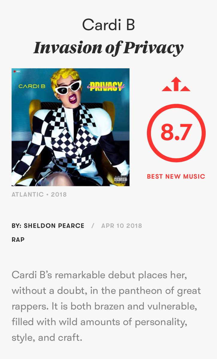 It's documented that we're fans of @iamcardib and have been rooting for her, but this looks about right to us! @pitchfork gave her debut album an 8.7/10 rating and named it #BestNewMusic! Y'all agree? How would y'all rate it? #InvasionOfPrivacy soundcloud.com/remindmetotell…