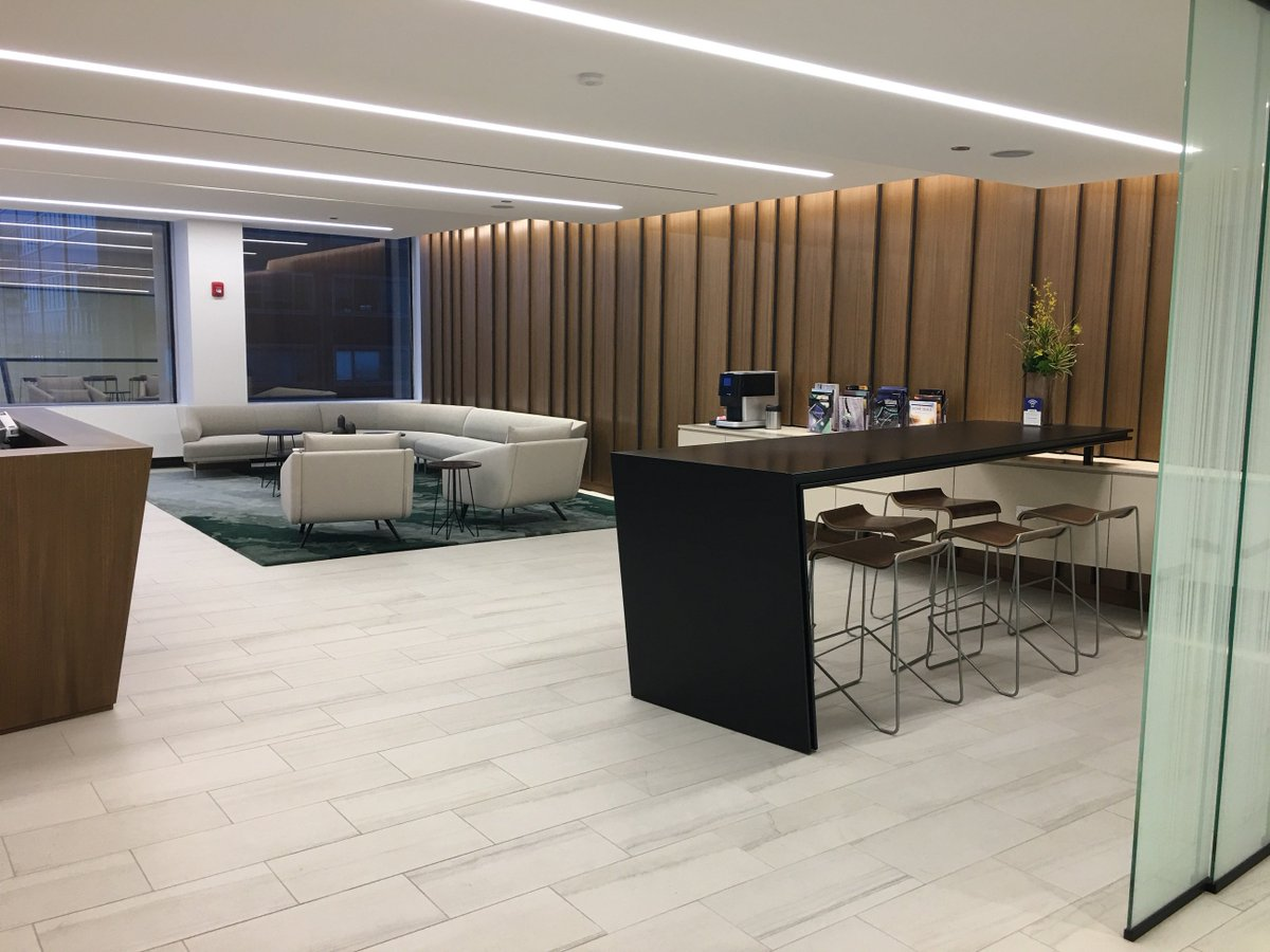 Remodel complete! Our #Chicago #attorneys and staff moved to temporary space for nearly 5 months while we underwent a big renovation.   Their long wait ended yesterday as the elevators opened to see our new reception area & lunch room! #thewaitisover #newofficespace <br>http://pic.twitter.com/5ur6HbI7dy