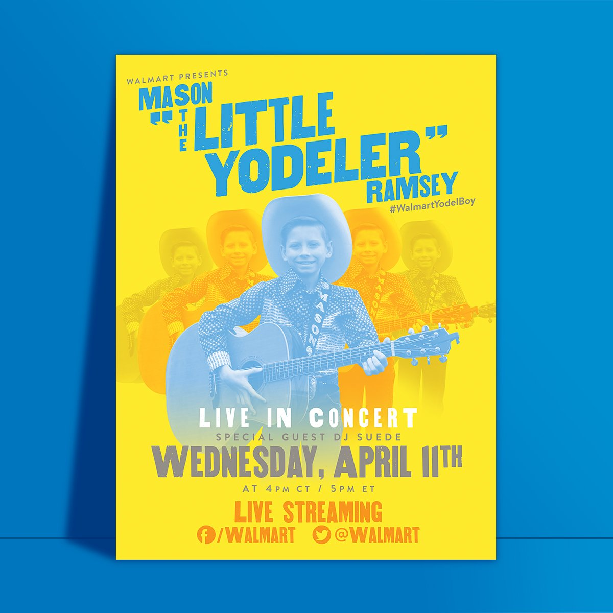 Want to wish @theMasonRamsey good luck for his LIVE concert on April 11? Send Mason a shout-out video using #WalmartYodelBoy for a chance to have it live streamed tomorrow!