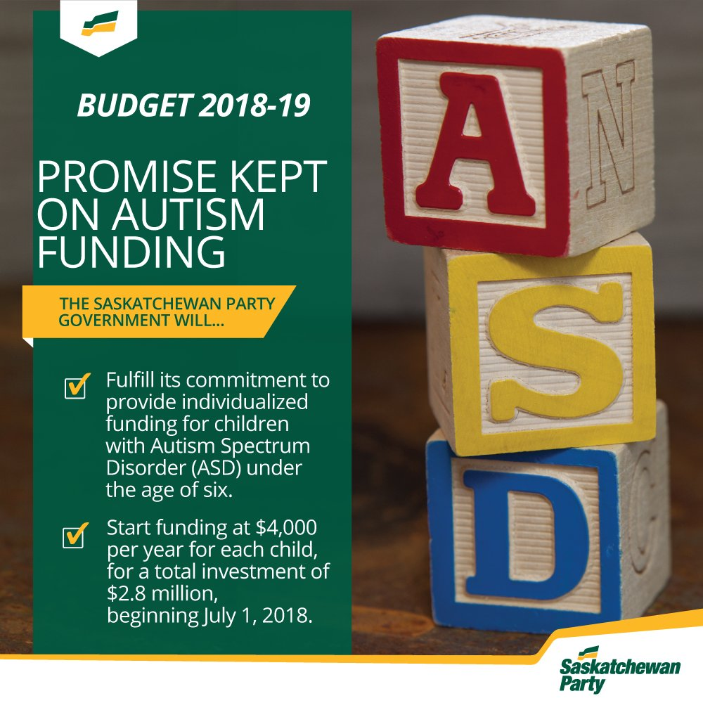 Promise made, promise kept.  #skbudget18 provides $2.8 million in individualized funding for children with autism. #skpoli