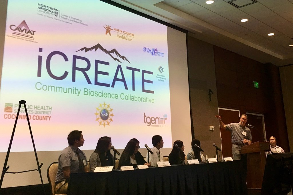 "At the Flagstaff luncheon to mark progress on Arizona's #Bioscience Roadmap, an intro to the iCreate course for high-school students:  ""A program that has given me the courage and confidence to work with people and explore #STEM as a career.""<br>http://pic.twitter.com/mEEZcMsj9a"