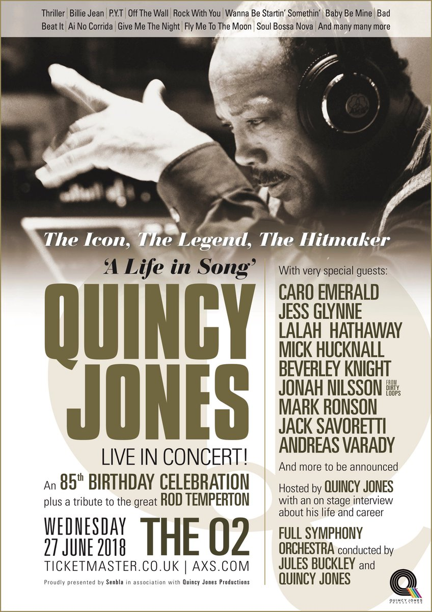 This is going to be an honor! If you're in London on the 27th there's going to be a celebration for Mr. @QuincyDJones for you to experience! There's going to be a lot of different artists performing including me! Lots of love!