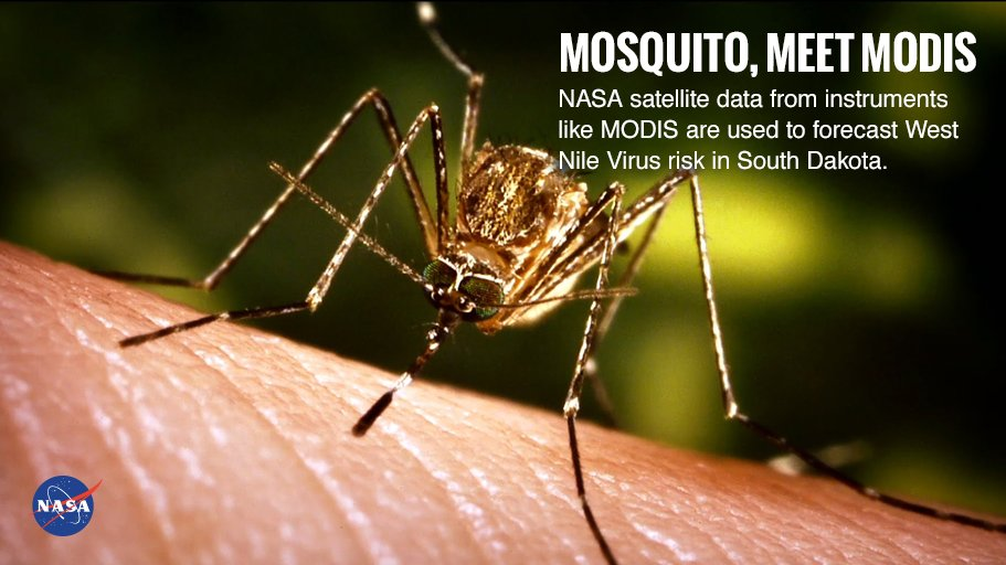 SD is a hotspot for West Nile Virus, spread by mosquitoes. Scientists and health officials use environmental data from NASA satellites to forecast disease risk for prevention & control.  #NPHW2018https://t.co/SBAk8gqtwR