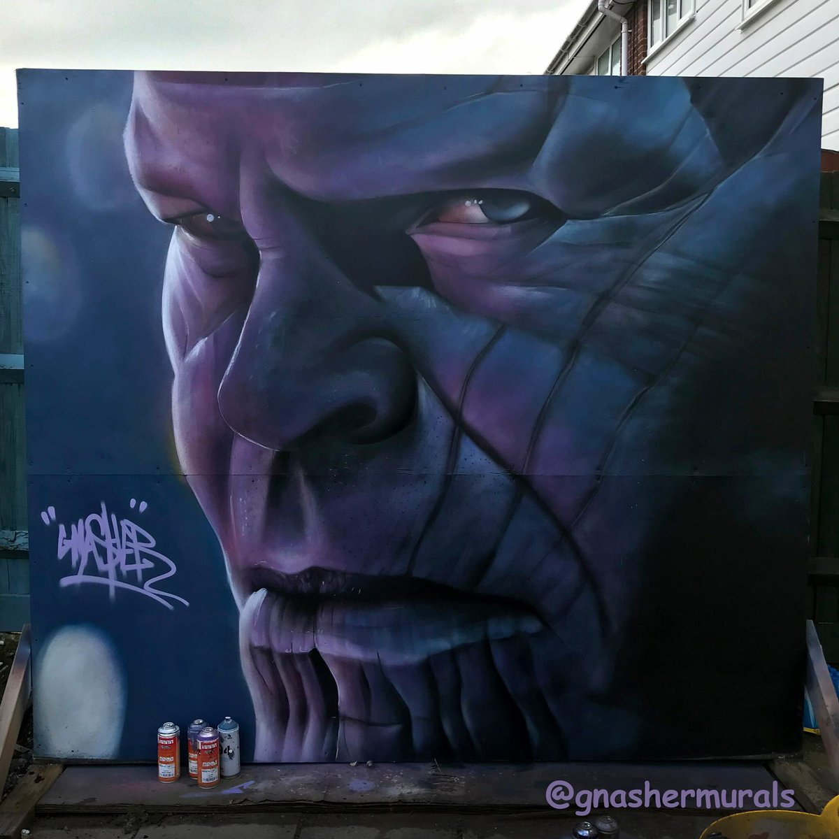 Gnasher on twitter avengersinfinitywar thanos mural freehand