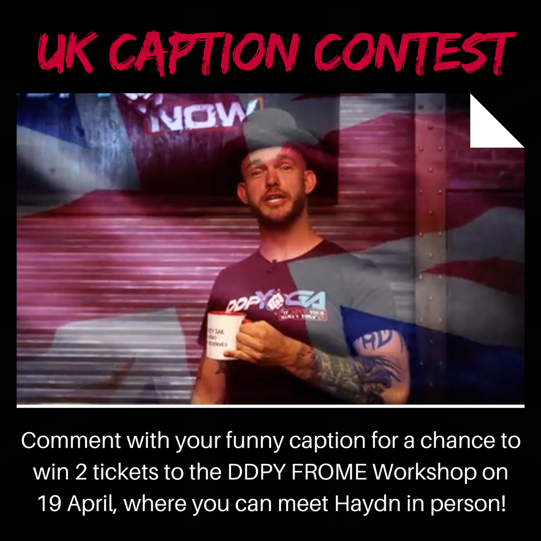 CONTEST TIME! Caption this photo of Haydn Walden for a chance to win two tickets to the DDPY Workshop in Frome, England on 19 April. Winner selected Thursday morning. ddpyogaworkshops.com