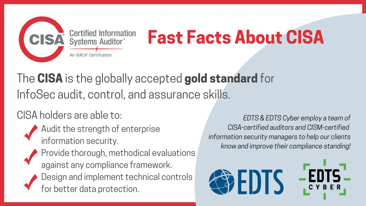 Edts On Twitter Cisa Certified Auditors Have Proven Skills Is