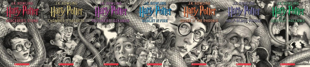 After seeing the #harrypotter 20th Anniversary book covers announced, I joined them up in Photoshop and its beautiful! @jk_rowling