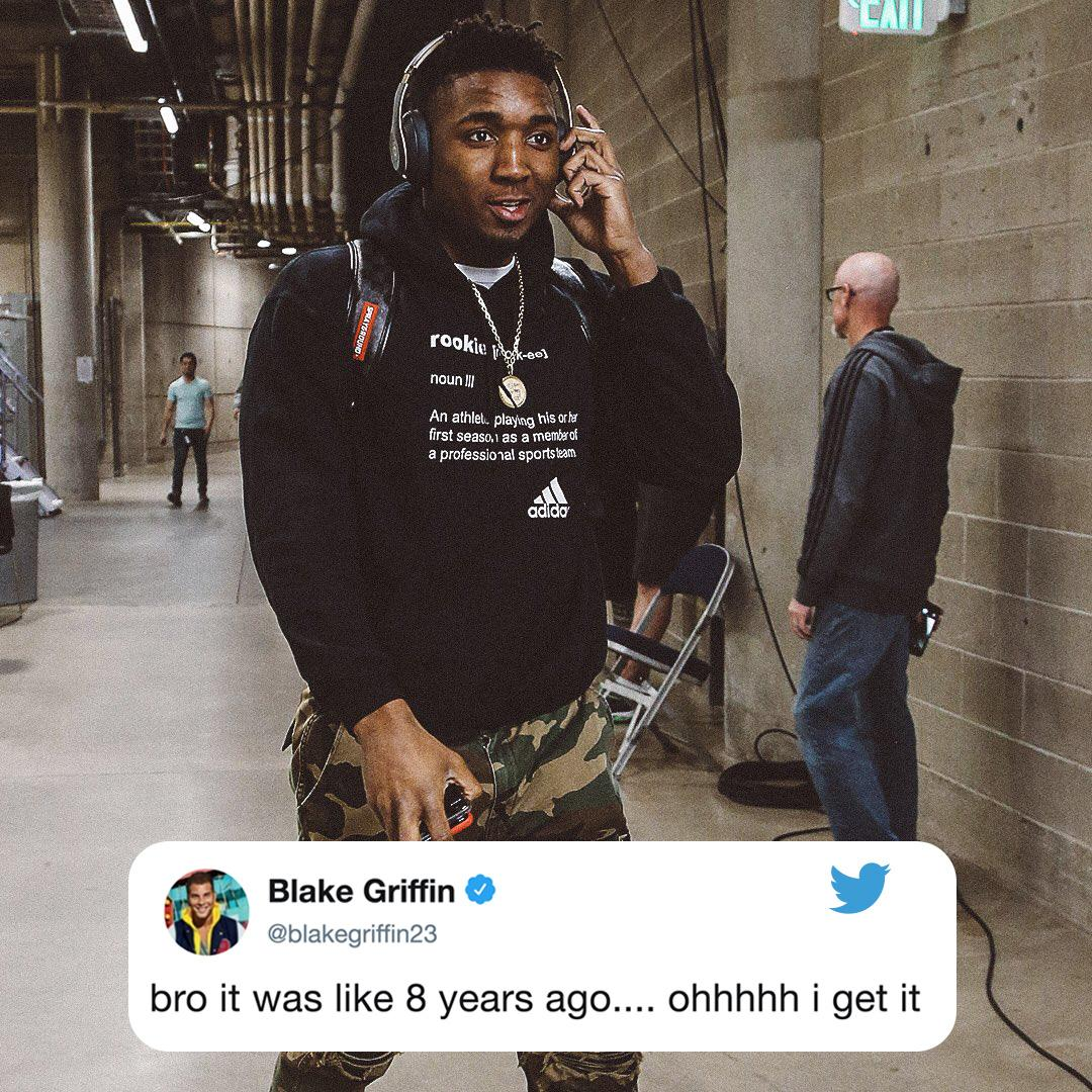 For a quick second @blakegriffin23 thought @spidadmitchell was talking about the 2010-11 ROY award �� https://t.co/xNOdsNY5Zl