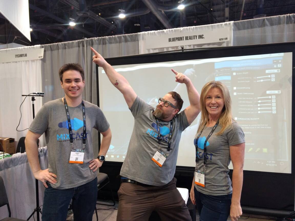 """Having fun showing #MixCast at #NABShow. Stop by our booth 2811 in the North Hall to see our """"no green screen background removal"""" system! #VR #MR #MixedReality"""