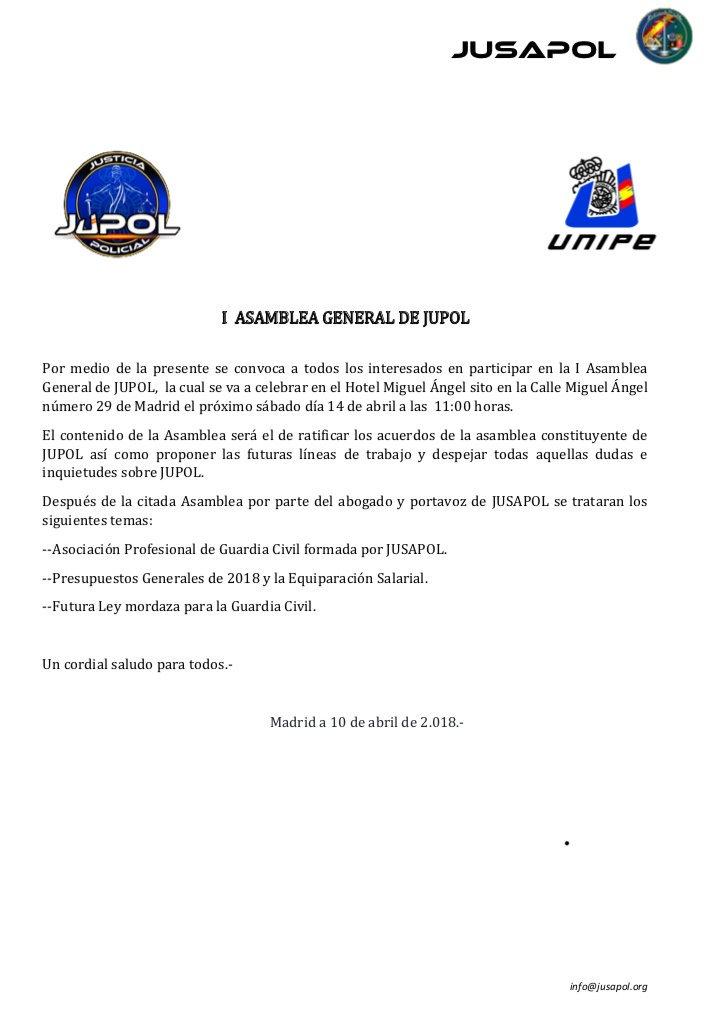 📣📣COMUNICADO  I Asamblea Gral de @JupolN...