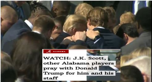 I believe in the power of prayer: Today J.K. Scott, other Alabama players pray with Donald Trump for him and his staff  🙏❤️🙏  https://t.co/5GxACDFwqn