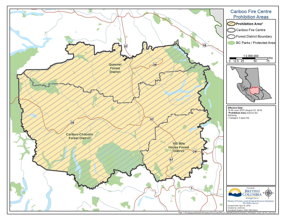 Bc wildfire service bcgovfireinfo twitter be prohibited in cariboo fire centre at noon on apr 23 more info httpbcfireinforbchprscriptswildfirenewsdisplayarticlepid2932 publicscrutiny Images