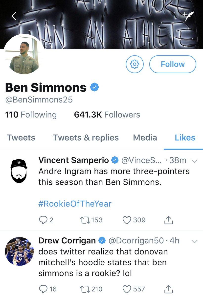 Ben Simmons' likes tonight 😂