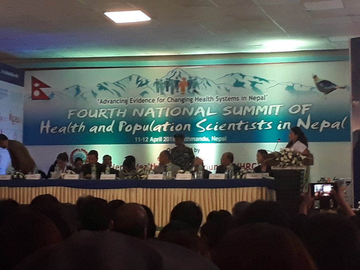 Congratulations #NHRC #MoHP #Nepal for organizing the forth national summit of #health and population scientists 11-12 Apr 2018. Wish a fruitful sharing n learning on meeting the #evidence needs in the changing #healthsystems context. #Evidence2Policy #federalism<br>http://pic.twitter.com/WeAf7SKH5z