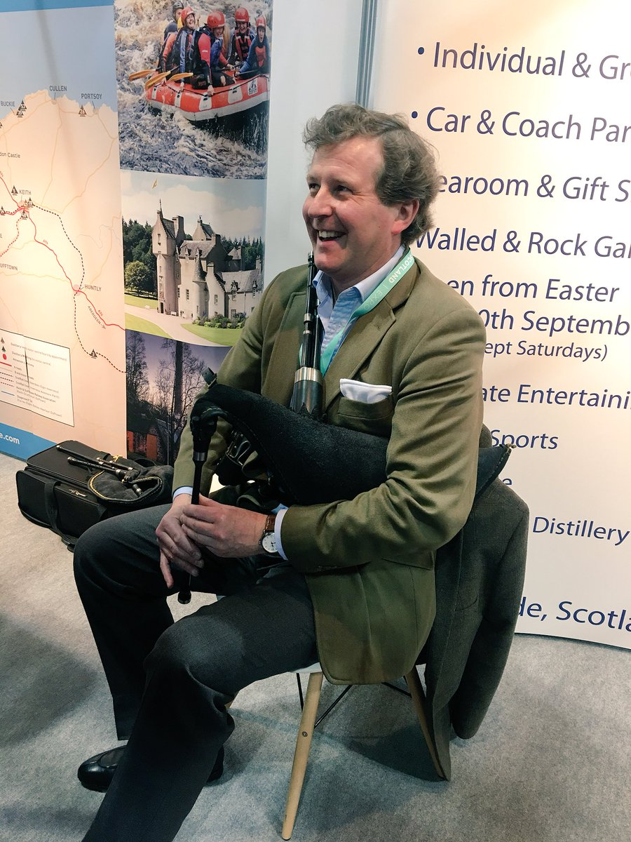 Guy Macpherson-Grant from @BallindallochC on the pipes at stand D28 at #VisitScotExpo. Bring ear plugs. #NE250