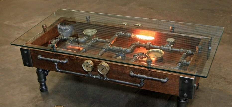 #Design Awesome of the Day: #Industrial Wooden Coffee Table with Pipes and Gauges by @MachineAgeLamps via @Shpangle_ #SamaArt #SamaDesign