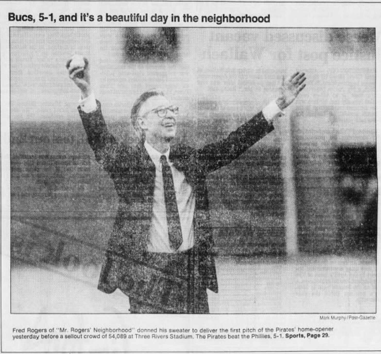 Pgh Sports History On Twitter 30 Years Ago 4 11 88 Fred Rogers Throws Out First Pitch On Opening Day At Three Rivers Stadium Letsgobucs Mrrogersneighborhood Https T Co Oiubspzfcf