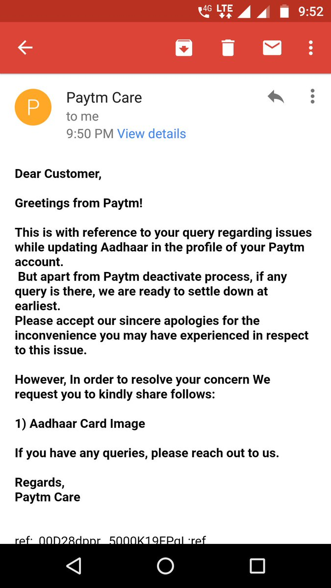 Vinod Reddy On Twitter Paytm Paytmcare Why Do You Need Aadhar Image To Resolve My Query How Is It Relevant For My Concern Fyi I Ve Already Got The Kyc Done Means