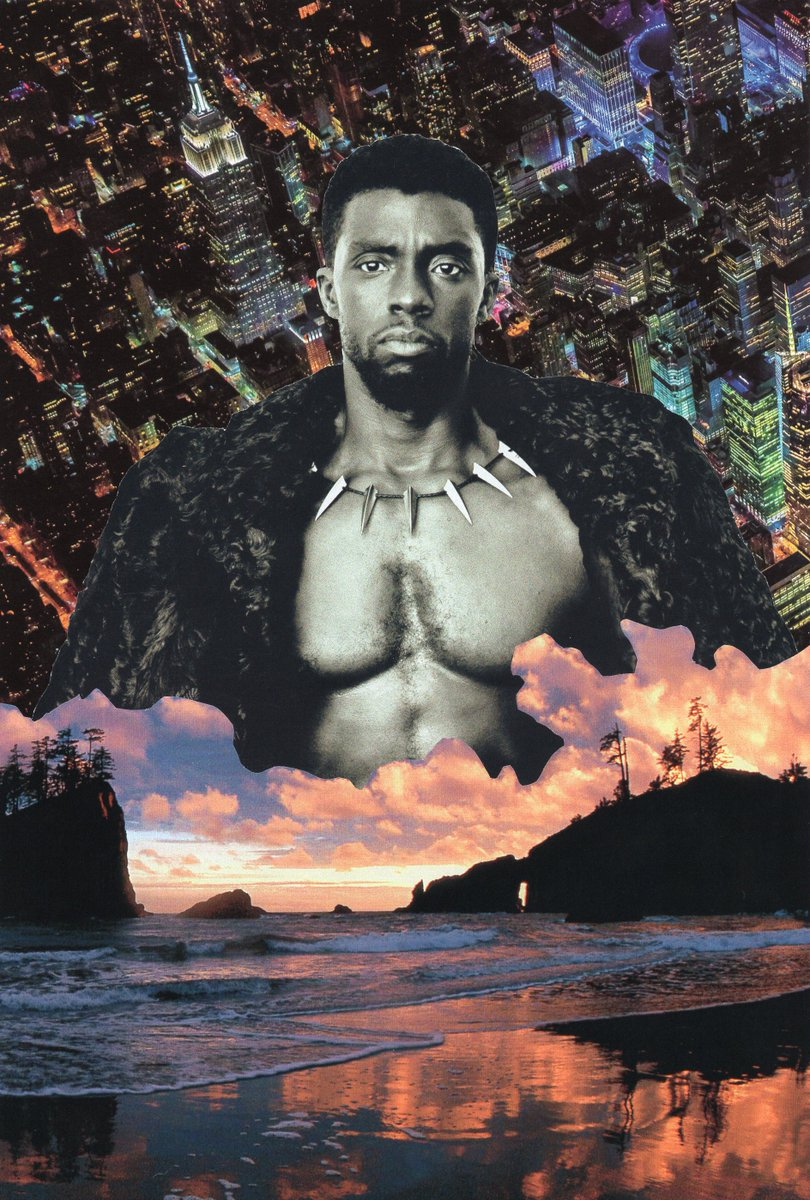 I made this collage with 3 pieces of paper and glue  Title: What About Tomorrow  @collage_world @chadwickboseman  #collagetheworld #blackpanther #blackpantherfanart<br>http://pic.twitter.com/k8V9JQx20c