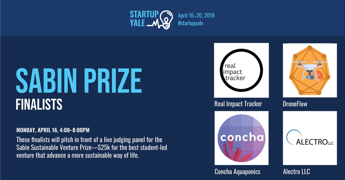 144efdc6d245 ... for the #startupyale Sabin Sustainable Venture Prize—$25k awarded by  @YaleCBEY for the best student-let venture that advances a more sustainable  way of ...