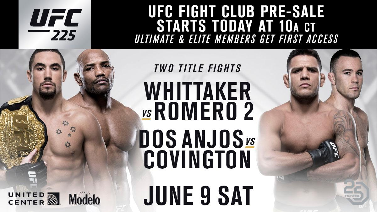 Get your seats at #UFC225 before anyone else. The @UFC Fight Club pre-sale is LIVE. 🎟 bit.ly/2GPBShP