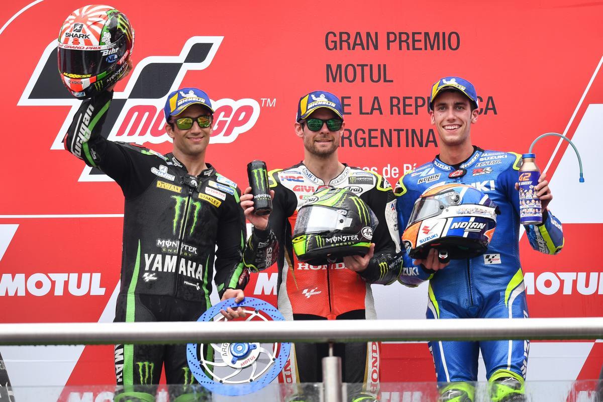 Podium MotoGP Argentina 2018, Cul Crutchlow, Johann Zarco, dan Alex Rins.