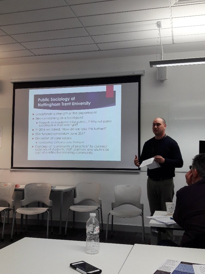 Craig Lundy introducing a paper on approaches to #publicsociology at @NTUSocSciences #britsoc18