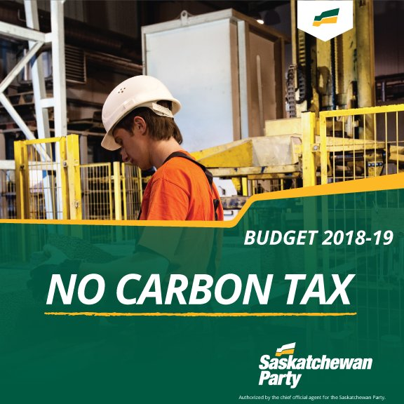 In contrast, the @Sask_NDP and their leader support a carbon tax.   #skbudget18