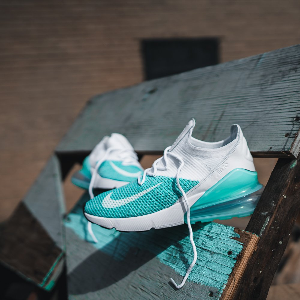 fc5cf33a5d8d42 I G L O O B L U E women s  Nike Air Max 270 Flyknit  Igloo Blue  Available  online   in select stores THURS 4 12.  igloo  am270  http   ow.ly FEMf30joYtZ ...